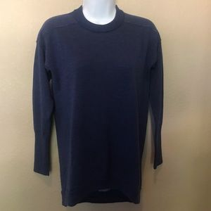 J. Crew merino wool blend blue high low sweater